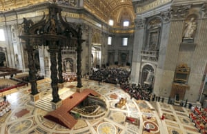 Pope Francis prays at St Peter's in the Vatican, Italy