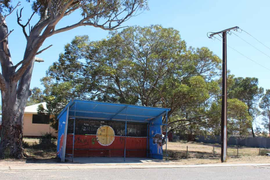 A bus shelter in Koonibba, the former site of an Aboriginal mission founded in 1901, just outside Ceduna