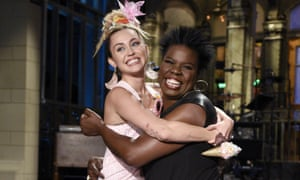 Miley Cyrus joins Leslie Jones before the premiere of Saturday Night Live.