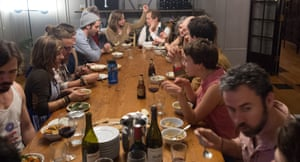 Communal HousingResidents and friends enjoy dinner in the dining room of Euclid Manor, a 6,200 sqft co-living house with 11 roommates in Oakland, California on March 13, 2016. The commune's residents maintain a theme of social impact, creativity and positive change.