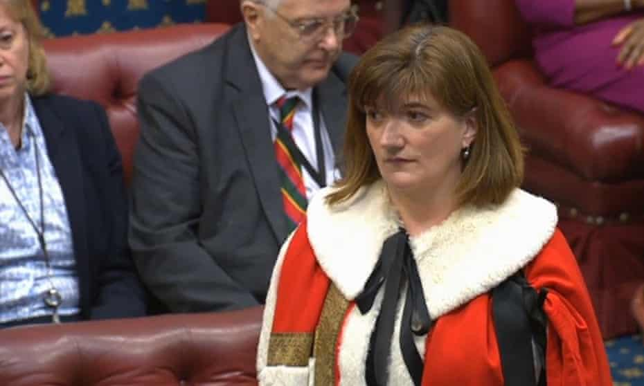 Puzzled: Nicky Morgan tries to remember who, what and where she is as she is sworn in as a peer.