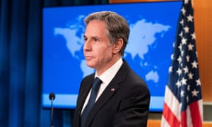 US Secretary of State Antony Blinken speaks about Afghanistan during a media briefing at the State Department.