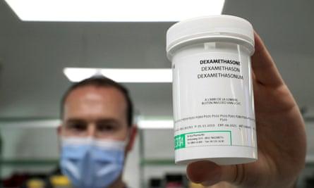Belgian pharmacist with Dexamethasone