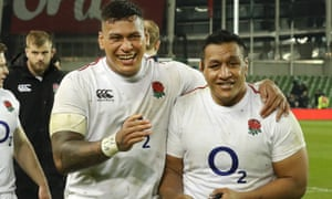 Mako Vunipola (right) and Nathan Hughes celebrate the win in Dublin