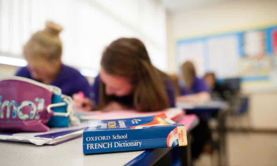GCSE pupils studying french language in a class at a secondary comprehensive school, Wales