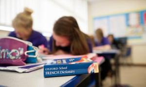 GCSE pupils studying French.