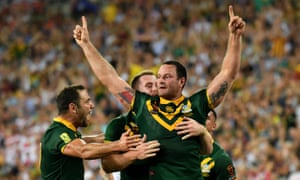 Boyd Cordner celebrates scoring the match-winning try in Australia's tense Rugby League World Cup final victory against England.