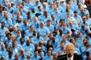 Graham continued to preach as he got older. He was 86 when seen here during the final day of his crusade at Flushing Meadows in New York in 2005
