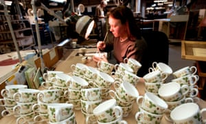 A worker at the Wedgewood pottery factory in Stoke on Trent.