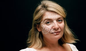 Bryony Gordon with words written on her face in white