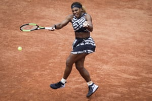Serena Williams of the US plays a forehand return to Russia's Vitalia Diatchenko.