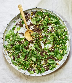 Anna Jones' herb salad with pistachios, lime and lentils.