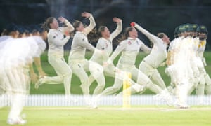 A multiple exposure image showing the bowling technique of Anya Shrubsole as she bowls during day three of the Women's Tour match between England and the Cricket Australia XI in Sydney during November 2017.