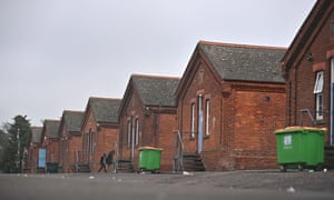 Migrants in Napier Barracks, a former military barracks being used to house asylum seekers in Folkestone, south-east England