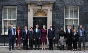 Theresa May with her party vice-chairs, including Maria Caulfield (second from right) and Ben Bradley (right).