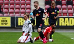 RB Leipzig's Timo Werner celebrates scoring their fourth goal.