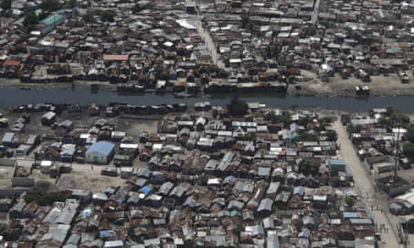 An aerial view of Cité Soleil, the sprawling shantytown of the Haitian capital Port-au-Prince