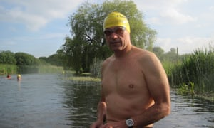 Rory Fitzgerald, outdoor swimmer, in the river Itchen, Hampshire
