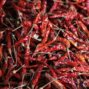 On fire?Dried chillies fill the air with sneezes Photograph: Jenny Downing/GuardianWitness