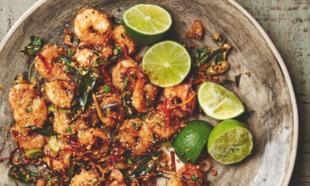 Yotam Ottolenghi's crisp prawns with oats, chilli and ginger.