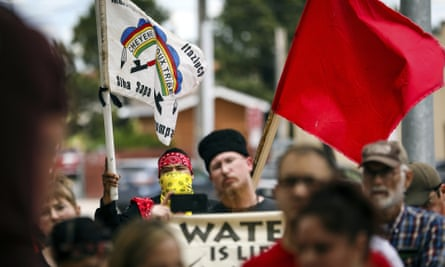 Demonstrators against the Keystone XL pipeline walking to a federal courthouse in in Rapid City, South Dakota, in June.