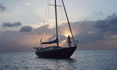 Kitiara Pascoe on board her partner's refitted Nicholson 32 yacht.