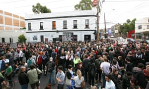 A protest outside the Tote Hotel, Melbourne over its closure.