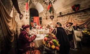 A costumed medieval banquet at the Sagra della Castagna in Soriano nel Cimino, Italy.