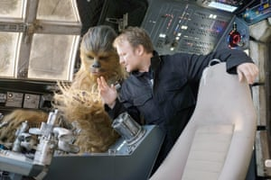 Rian Johnson directing Joonas Suotamo as Chewbacca on the set of The Last Jedi.