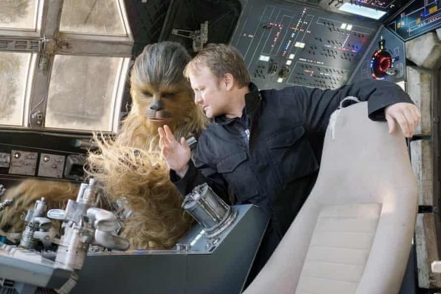 Rian Johnson directing Joonas Suotamo as Chewbacca on the set of The Last Jedi.