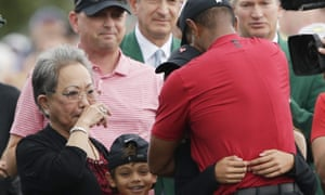 Tiger Woods celebrates winning the 2019 Masters with his mother Kultida and son, Charlie.