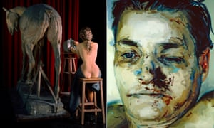 From left, Liane Lang's Ars Equina from her Casts series and Jenny Saville's Entry.