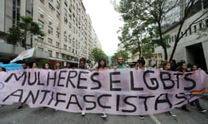 """Brazilian students protest against censorship at the universities. The banner reads; """"Women and LGBTS anti-fascists."""""""