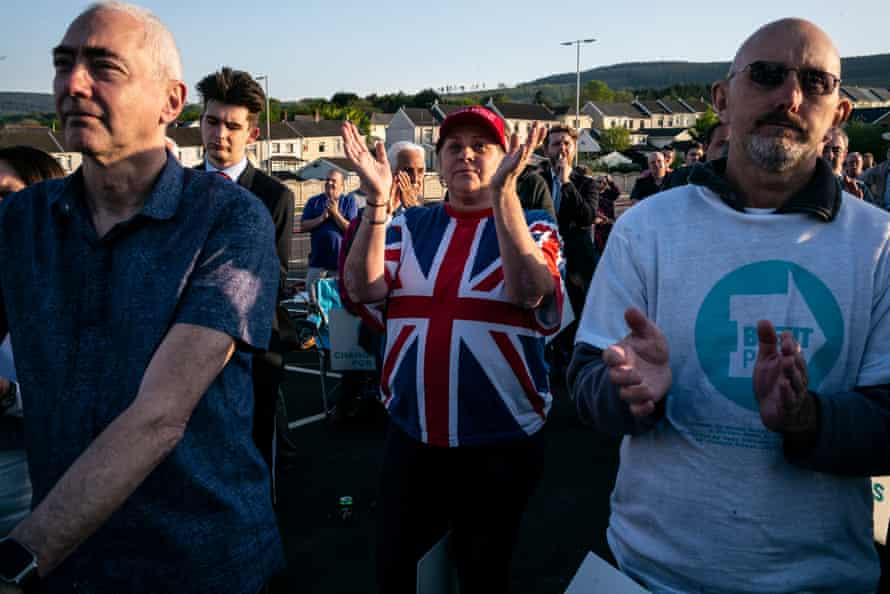 Nigel Farage supporters at a rally in Merthyr Tydfil in May 2019.