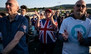 Farage supporters at the rally in Merthyr Tydfil.