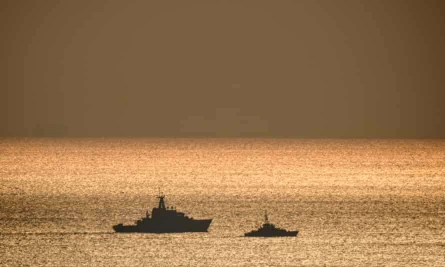 HMS Mersey, left, with a Border Force cutter in the Channel