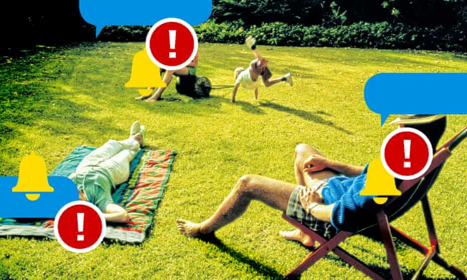 A family in their garden bombarded by text messages