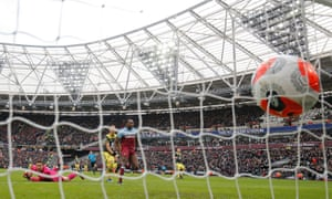 West Ham United's Michail Antonio scores the third goal during the 3-1 win over Southampton in the Premier League match at the London Stadium