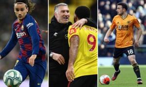 Antoine Griezmann of Barcelona; Nigel Pearson of Watford; Diogo Jota of Wolverhampton Wanderers
