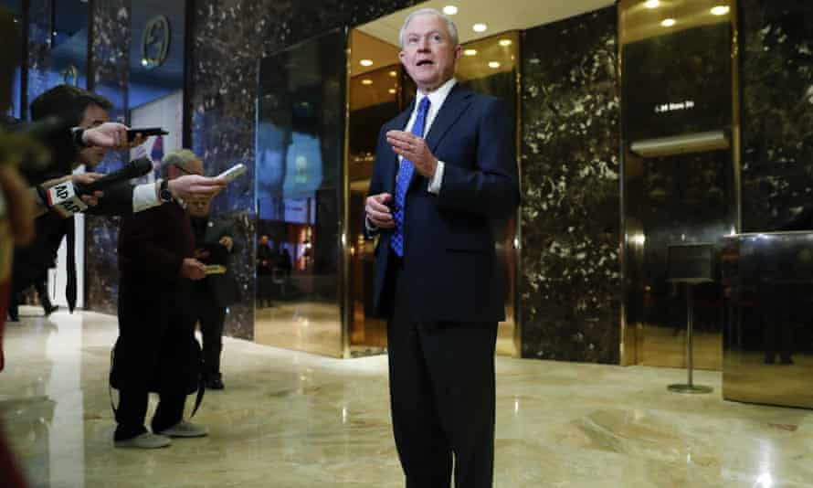 Jeff Sessions speaks to the media at Trump Tower.