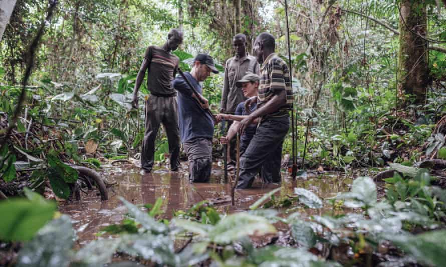Congo Basin experts from the UK and DRC take samples from the peatland.