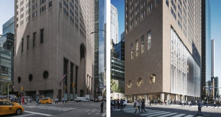 Left: the existing ground-level view of his AT&T building; right: the proposed new glass frontage