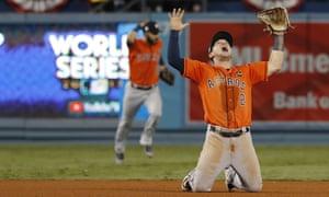 Houston's Alex Bregman celebrates the World Series win.
