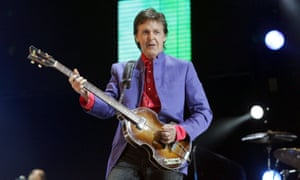 Paul McCartney performing at Glastonbury 2004.