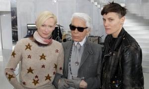 At Paris fashion week spring summer 2014 with Tilda Swinton and Karl Lagerfeld.
