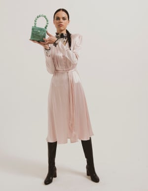 model wears dress, £65, next.co.uk. Roll neck, £195, wolfordshop.co.uk. Bag, £270, by Cult Gaia, from koibird.com. Boots, £192, 8 by Yoox, from yoox.com.