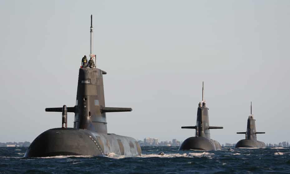 Australian Collins-class submarines in formation in Cockburn Sound, near Rockingham, Western Australia in 2015