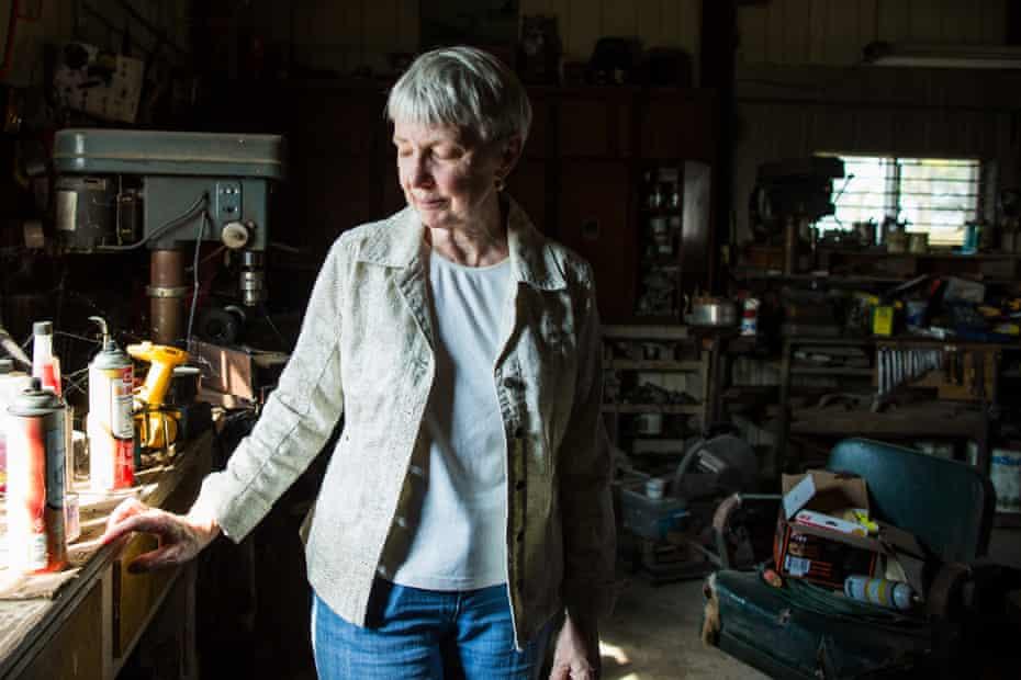 Ginnie Peters in her husband's workshop. Matt died in 2011.