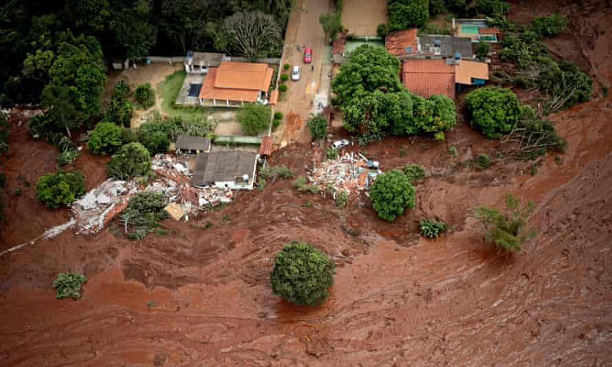 An aerial view of mud and waste from the disaster caused by the collapse, in Minas Gerais, Brazil, on 26 January 2019. The tailing dam's sudden collapse caused a toxic torrent of mining waste to sweep across a rural pocket of Minas Gerais state.