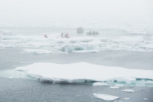 Scientists from the University of North Carolina Wilmington work alongside Greenpeace activists on an ice floe in Fram Strait. The Greenpeace ships Esperanza and Arctic Sunrise are working with UNCW to take samples of Arctic ice and water, measuring the effect of melting ice on the ecosystem.